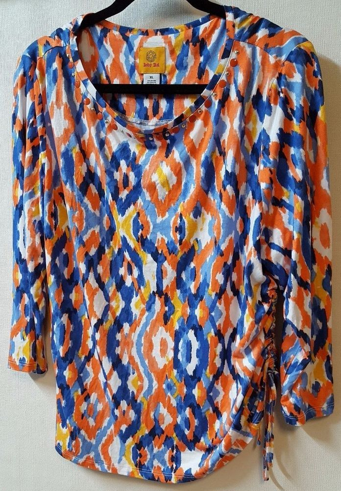Ruby Rd 3 4 Sleeve Shirt Size XL Multi Color Abstract Print Stud Detail Neckline