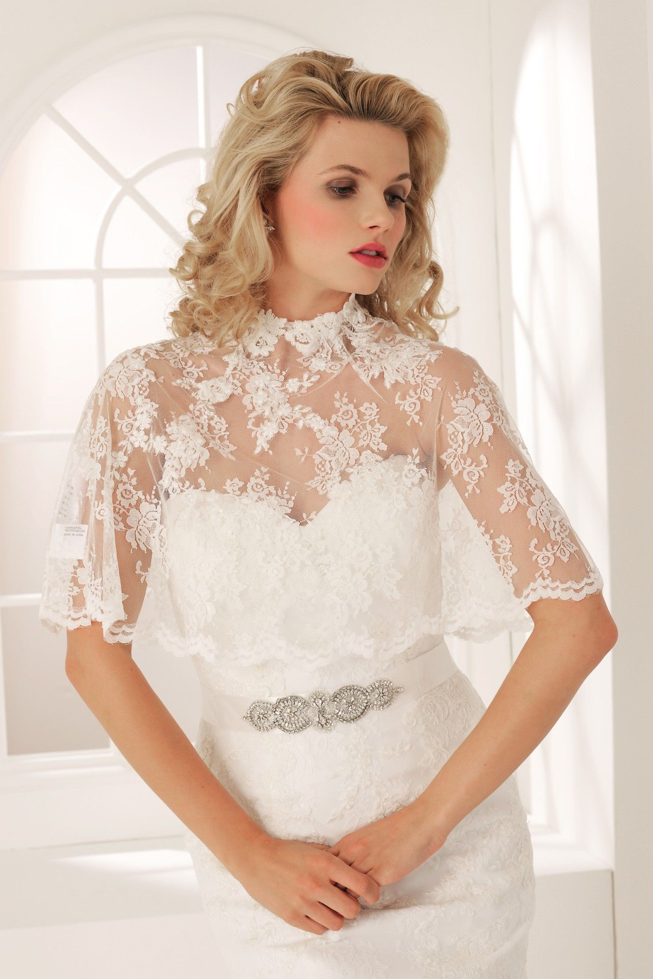 Wedding dress cape  Veromia lace cape VR Available to order from Enchanted Brides