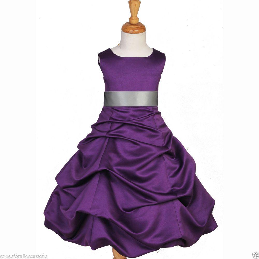 Purple pageant toddler junior wedding flower girl dress 2 3t 4 6 7 8 ...