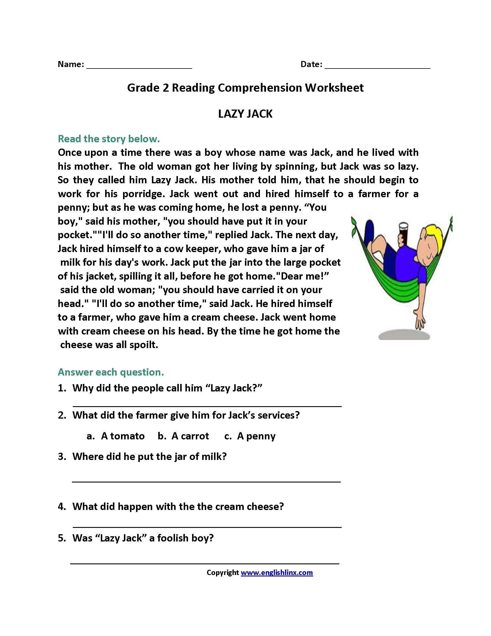 Printable Reading Comprehension Worksheets For 2nd Graders Valid