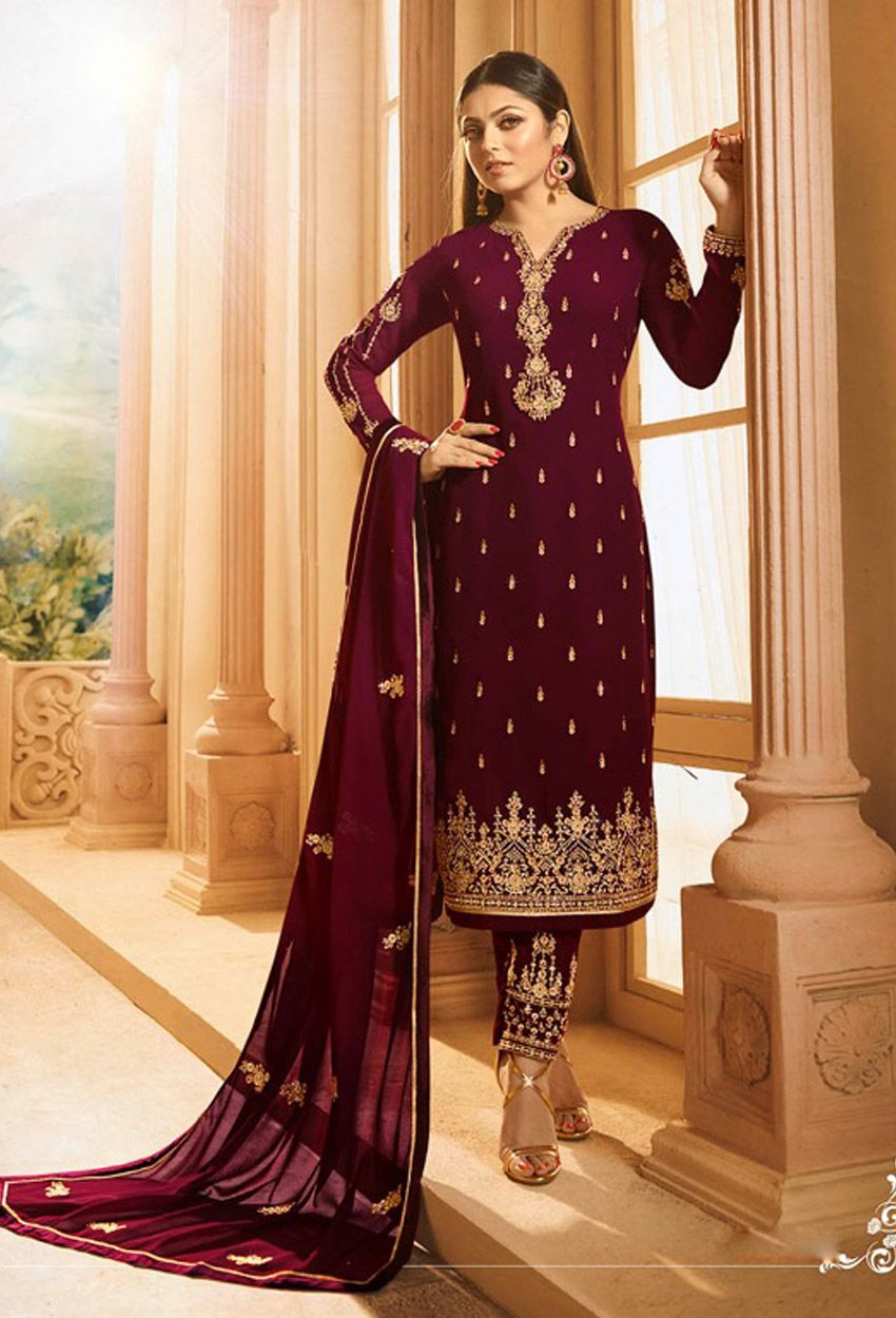 3cd06063829 Magenta Georgette Wedding Pakistani Suit  purple  purplesalwarkameez   purplesuit  onlinesalwarsuit  salwarkameezonline  dress  onlineindiandress  ...