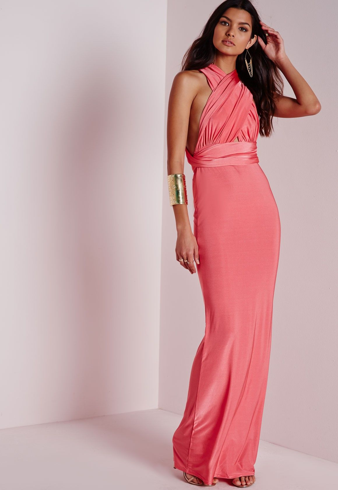 364b15f97b Missguided - Do It Any Way Multiway Maxi Dress Pink