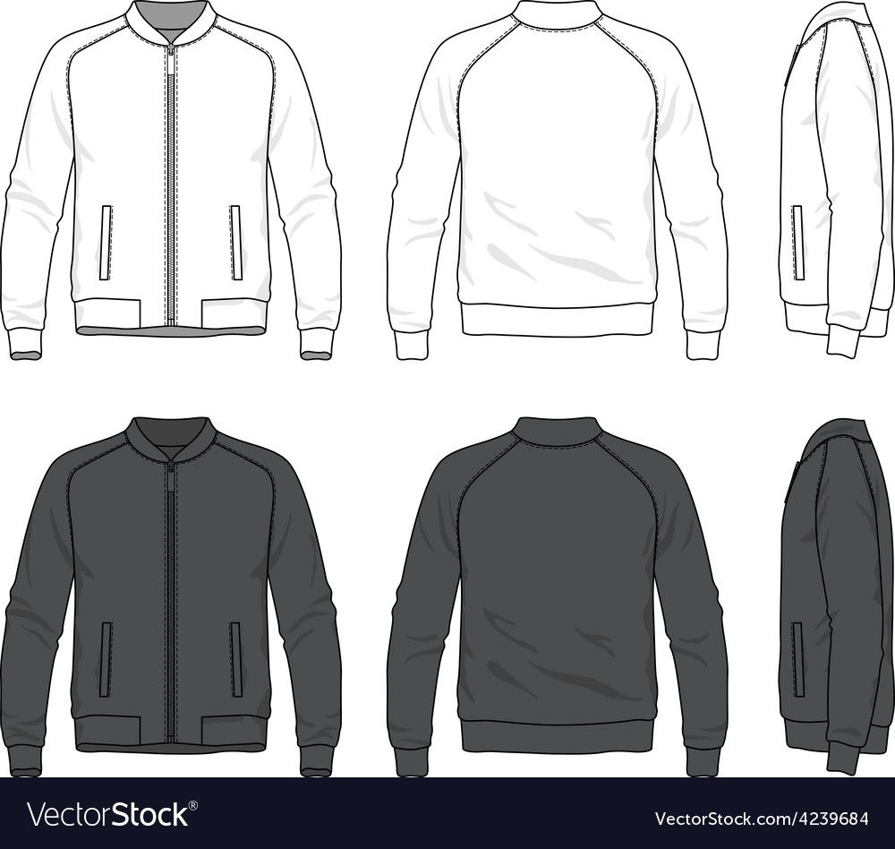 Blank Bomber Jacket With Zipper Royalty Free Vector Image Affiliate Jacket Zipper Blank Bomber Ad Hoodie Vector Vector Clothes Gym Outfit Men [ 948 x 1000 Pixel ]