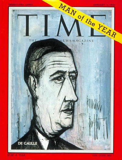 1959: TIME names French President Charles André Joseph Marie de Gaulle its Man of the Year.