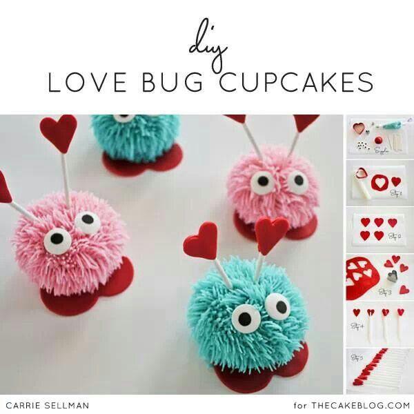 Love Bug cupcake tutorial. http://thecakeblog.com/2014/01/diy-love-bug-cupcakes.html