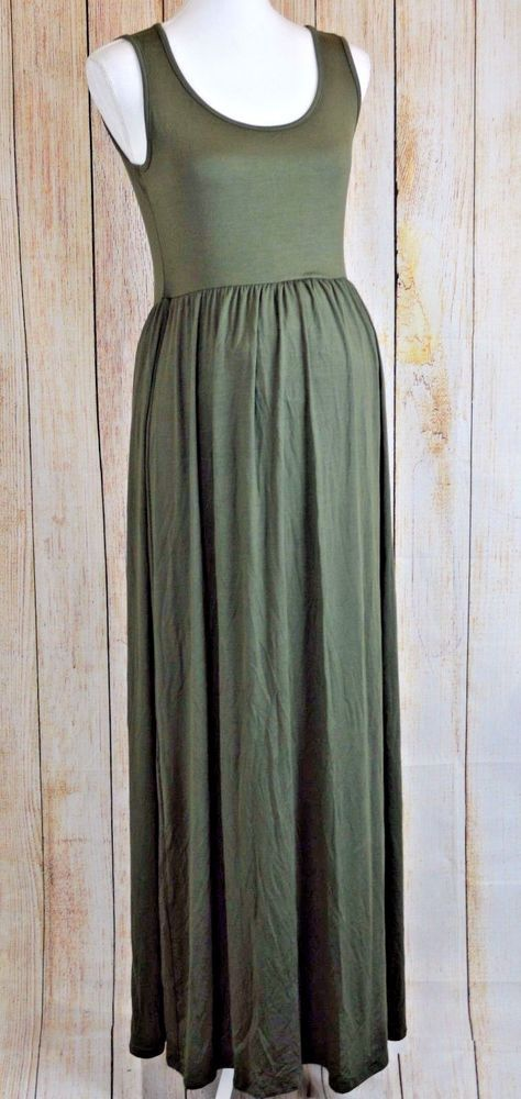 0126e23827f5c Mother Bee Women Ruched Sleeveless Maternity Dress Pregnancy Olive Green  Small S #MotherBee #RuchedSleevelessMaternityDress #Casual
