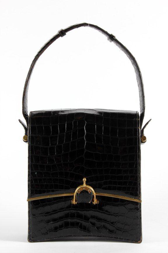 3d1625792a80 A rare  Eperon  Hermes black crocodile handbag