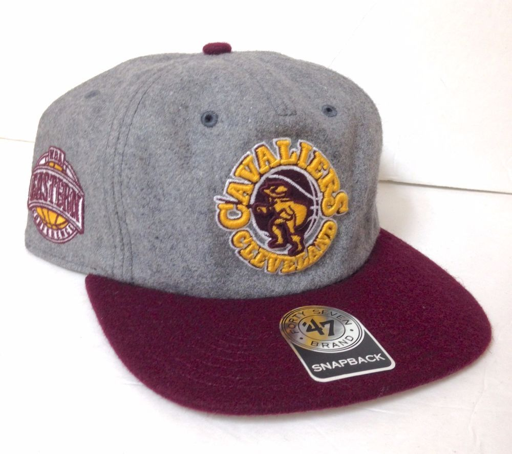 12045ee5441 UNSTRUCTURED! New 30 CLEVELAND CAVALIERS 1970s LOGO SNAPBACK HAT Wool Gray  Mens  47  ClevelandCavaliers
