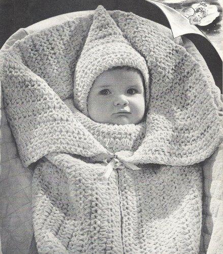 40s Baby Bunting Elf Hat Vintage Crochet Pattern PDF BG107