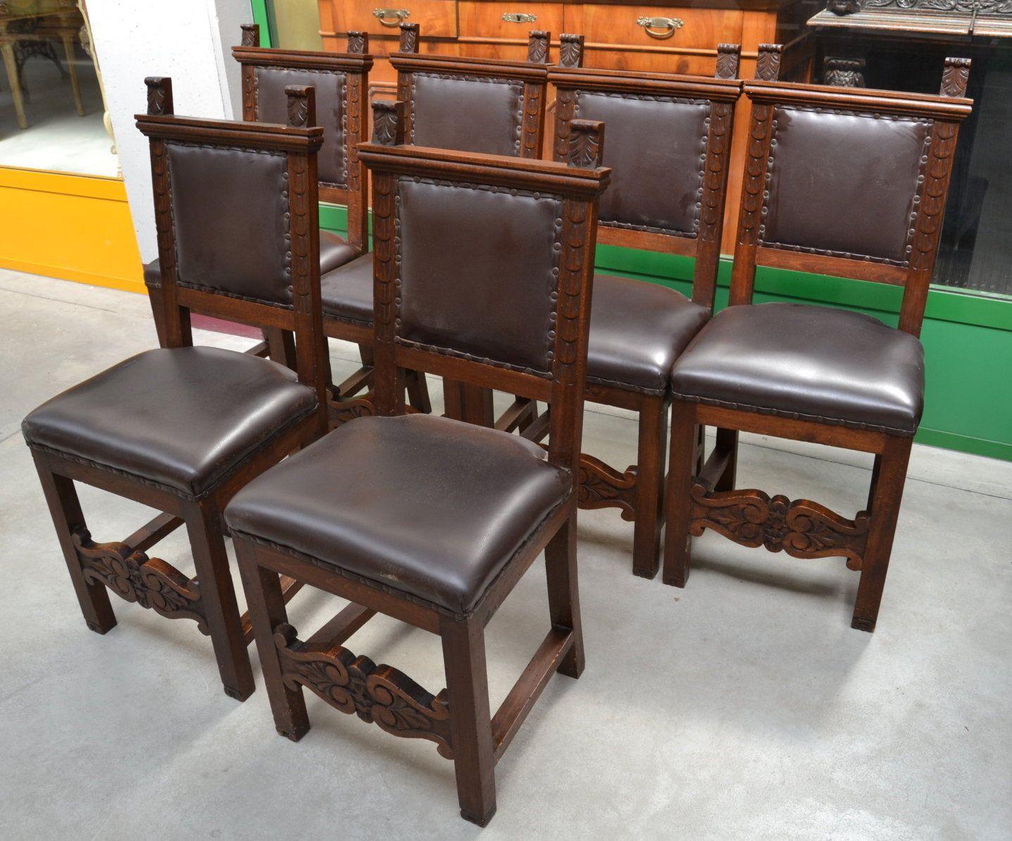 Sedie Antiquariato ~ 6 sedie in faggio massello neorinascimentali seduta in pelle