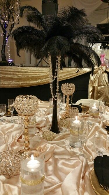 Great Gatsby Theme Quinceanera Head Table Decor Black Gold And