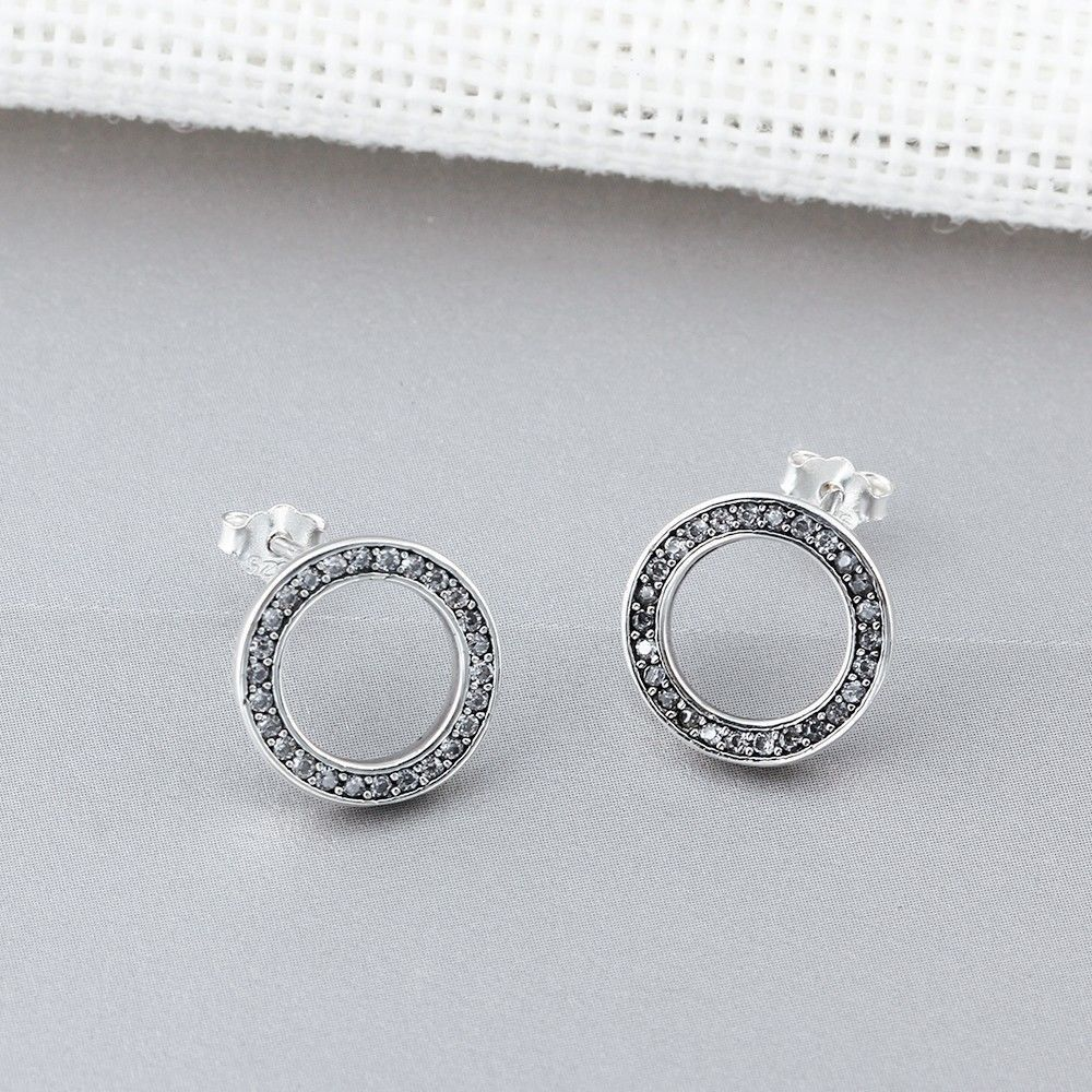 Charms cubic zirconia sterling silver engagement circle stud