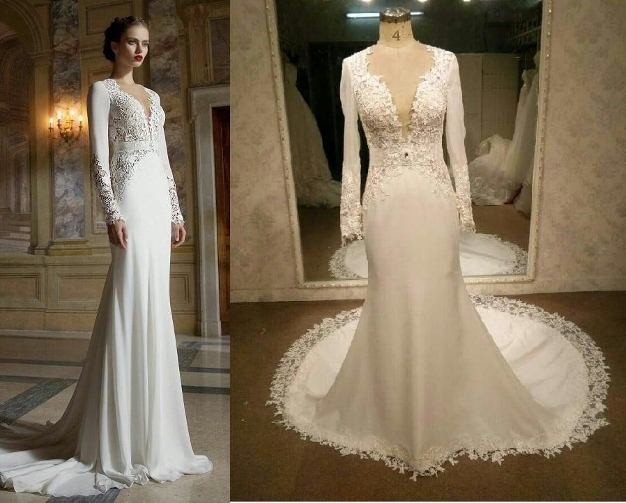 """5a0971f898af6 """"This is a custom long sleeve wedding gown recreation we made that was  inspired by Berta Bridal per a brides request. She was unable to afford the  original ..."""