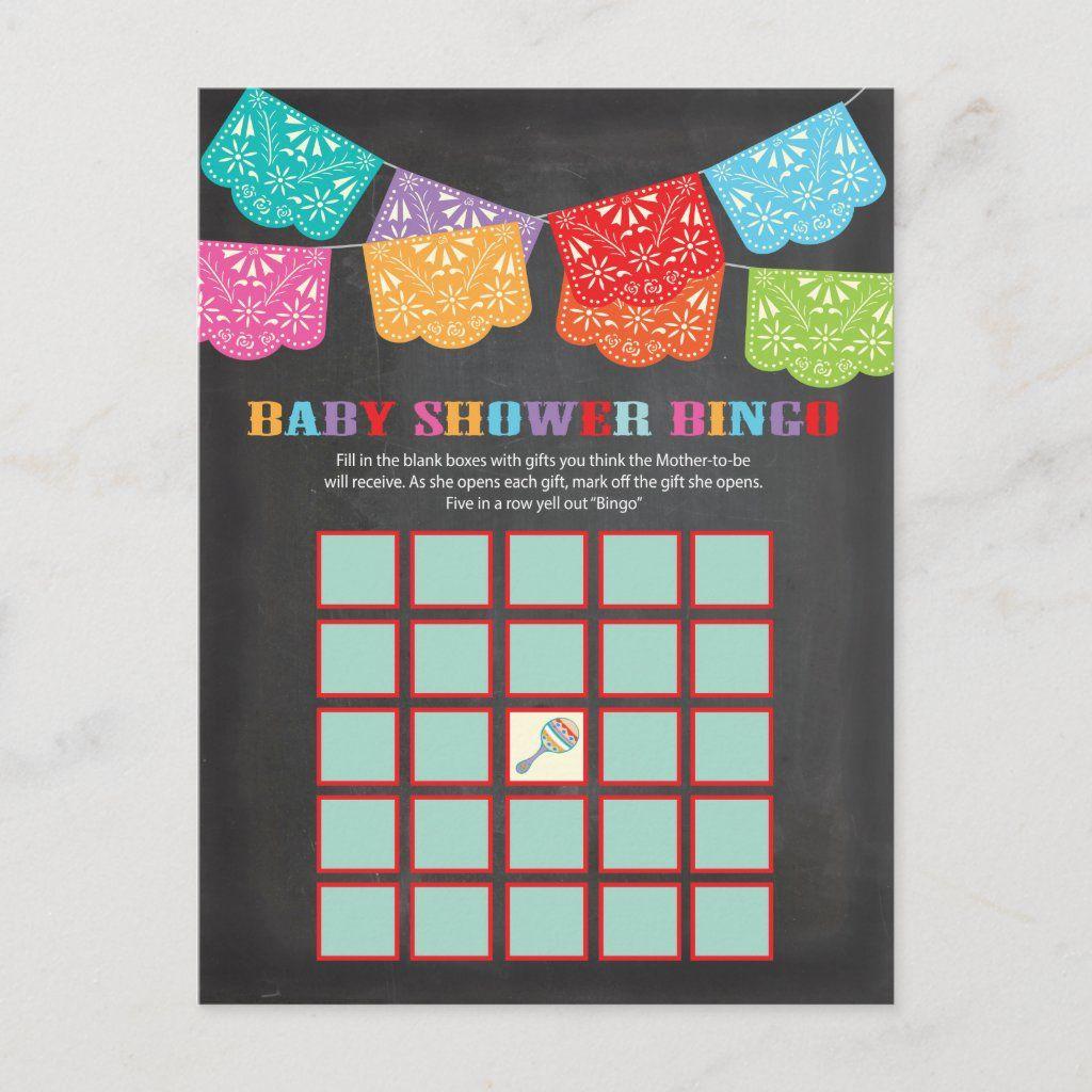 Mexican Fiesta Baby Shower Bingo game card | Zazzle.com
