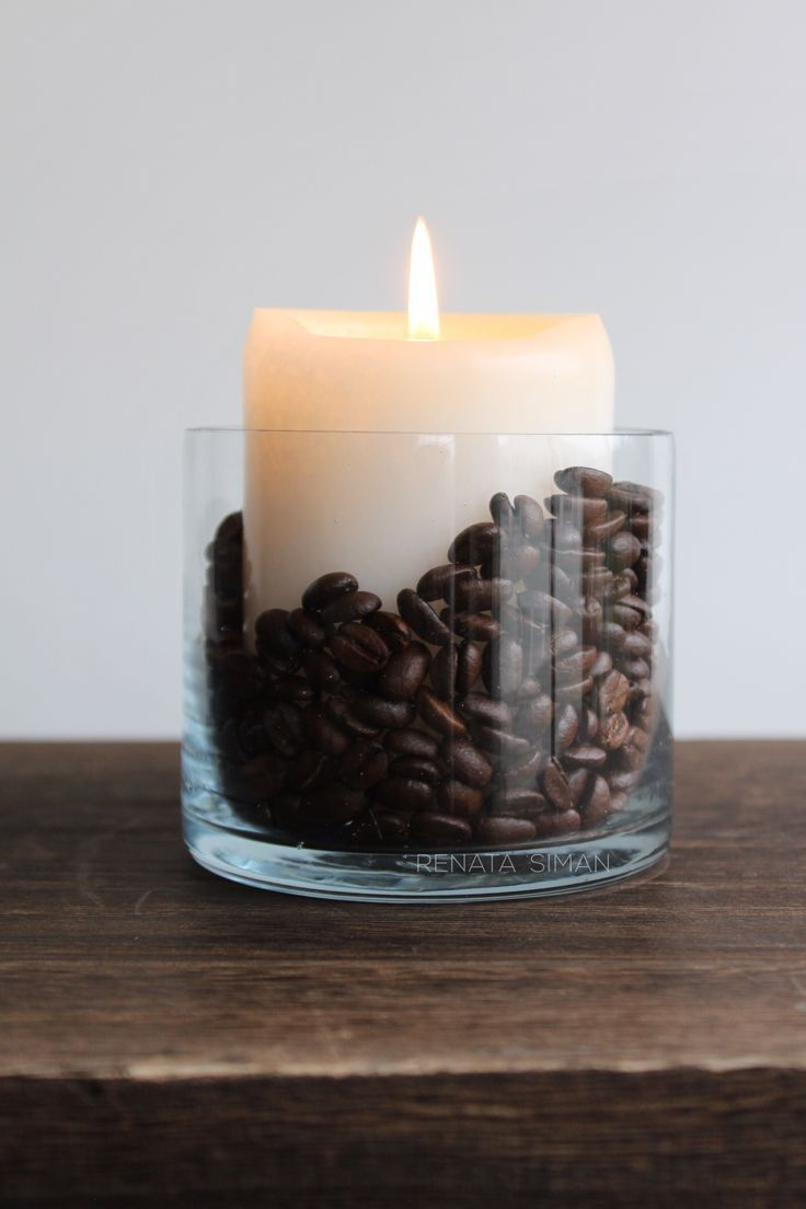 I made this very easy #DIY #HomeDecor accessory. Vanilla #candle + #coffee beans..., # Check ...