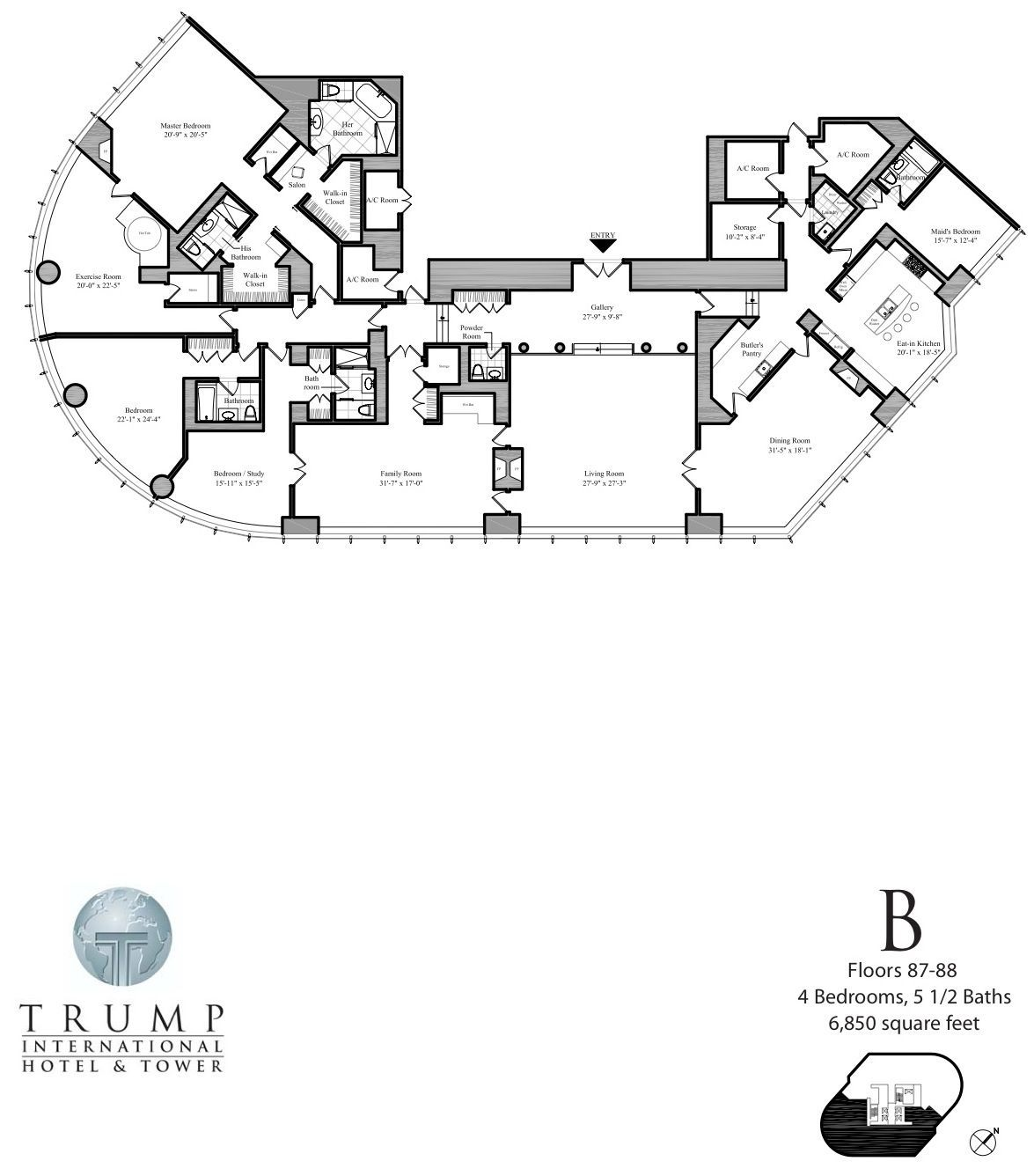 Trump International Tower And Hotel Chicago Penthouse Floor Plans Tallest Towers Trump Trump Tower Chicago Hotel Floor Plan Architectural Floor Plans