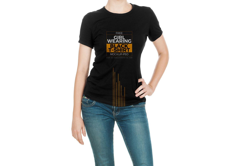 Girl Wearing Black T Shirt Mock Up Free Mockup Shirt Mockup Black Tshirt T Shirts For Women