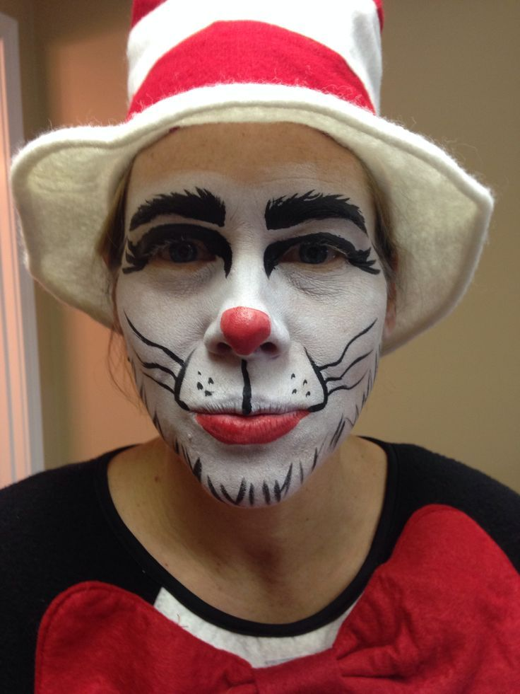 Image result for cat in the hat costume face makeup