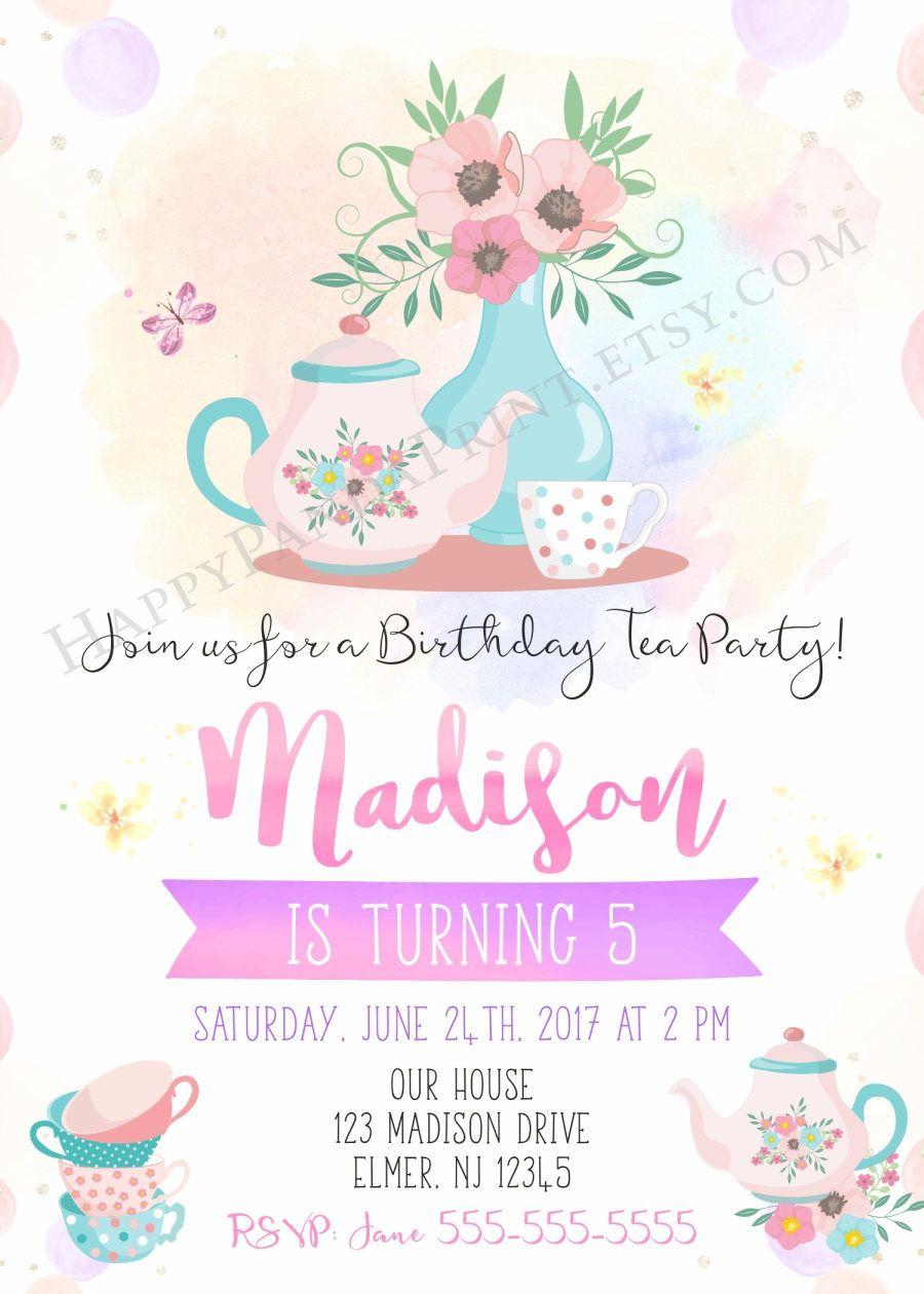 Tea Party Invitation Tea Party Birthday Invitation Birthday