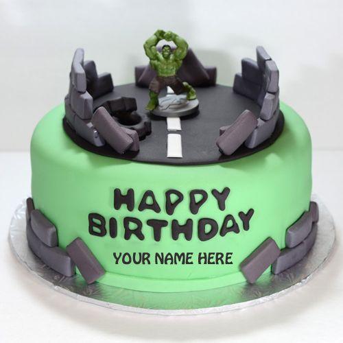 The Incredible Hulk Birthday Cake With Your NamePrint Name on Hulk
