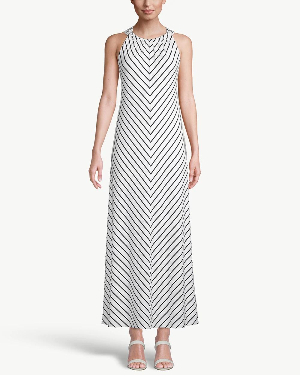 Chico S Sleeveless Halter Neck Striped Maxi Dress Striped Maxi Dresses Petite Maxi Dress Petite Maxi Dress Casual [ 1250 x 1000 Pixel ]