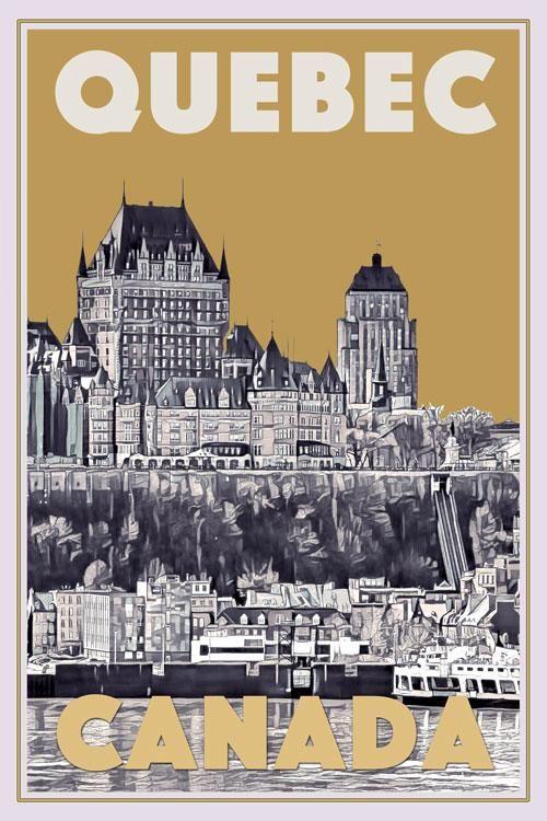 Vintage Canadian National Railways Quebec Tourism Poster  A3 Print