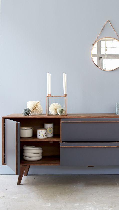 Graues Sideboard im skandinavischen Vintage Stil Mobiliar