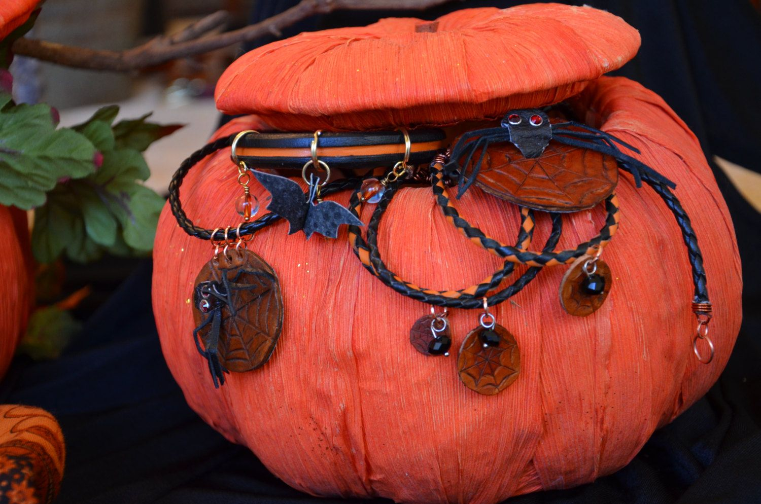 October Fun Jewelry collection.  Spiders and bats perfect for Halloween fun. by EncoreLeatherDesigns on Etsy
