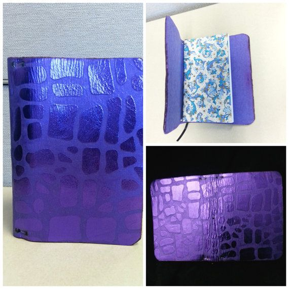 Purple Metallic Leather Field Notes size by luxurycardstore