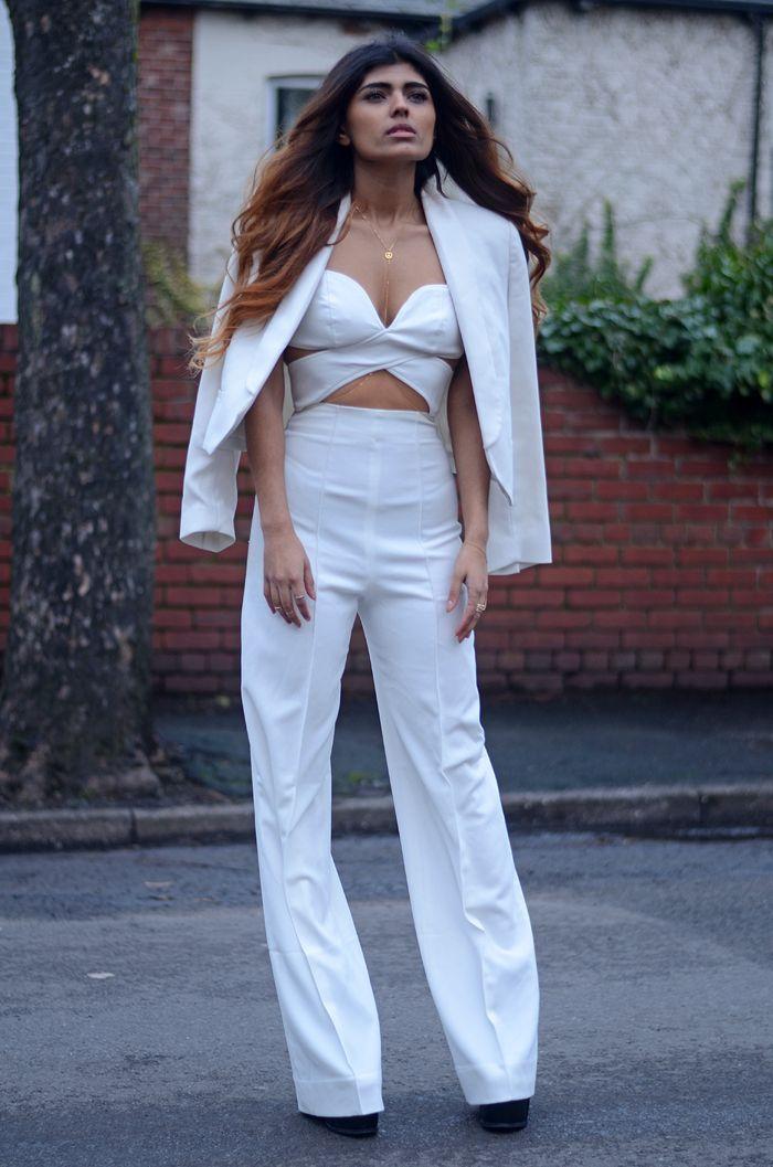White cut out jumpsuit.