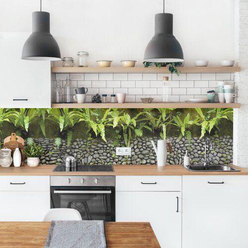 Photo of Bloomsbury Market Hart-Kunststofffolie Spritzschutzpaneel Steinwand Mit Pflanzen Arkins | Wayfair.de