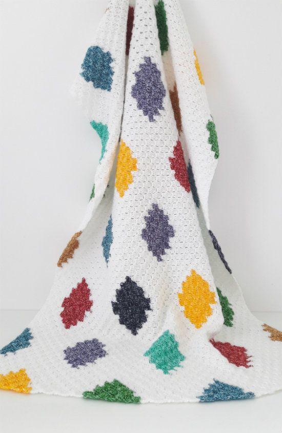 C2C harlequin blanket, free crochet pattern | sobrecamas en crochet ...