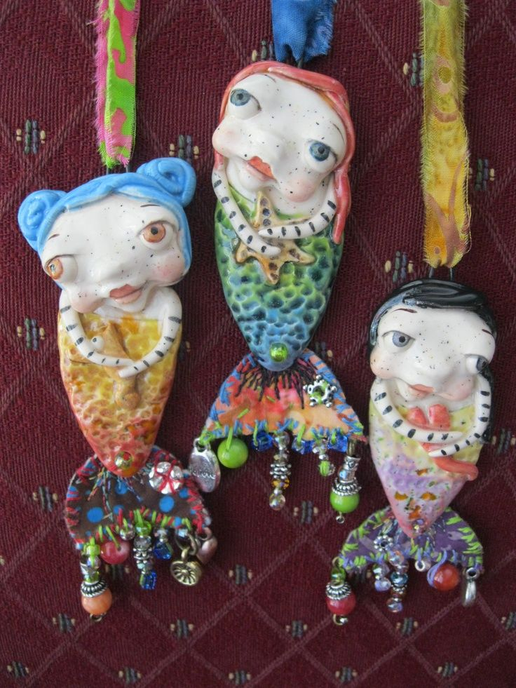 Clay mermaids mermaids handsculpted pendants by sunny for Paper clay projects