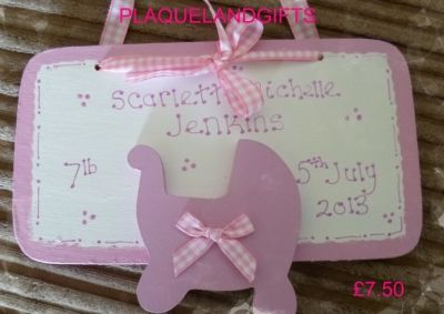 Baby plaque sign personalised date time new baby christening