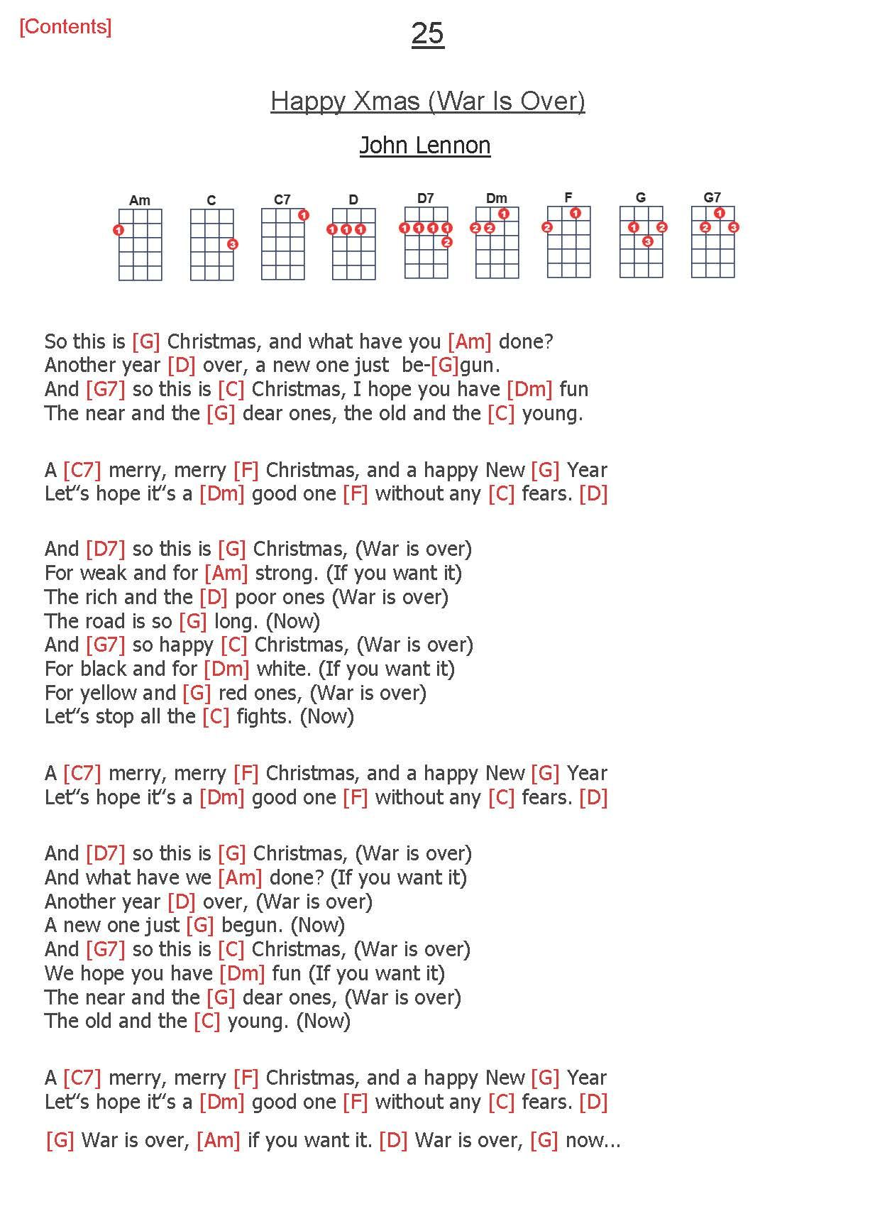 25 Happy Xmas War Is Over John Lennon Happy Xmas Ukulele