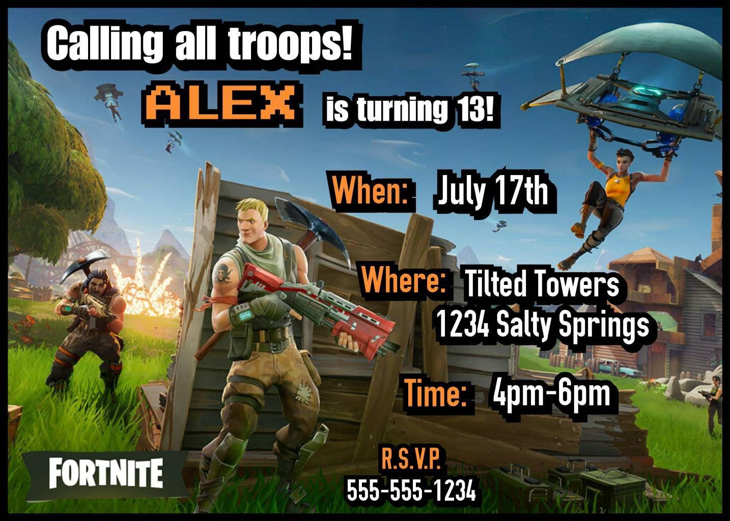Fortnite Party Invitations Invitationsbykasey Etsy Com