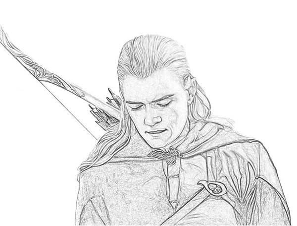 Legolas the Elf in the Lord of the Rings Coloring Page | Coloring ...