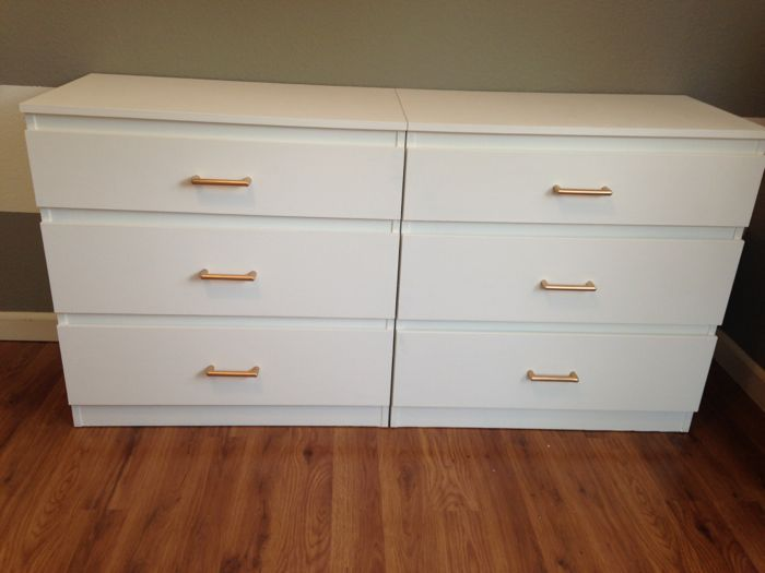 This Was Another Ikea Hack We Refinished Two Malm Dressers With Gold Handles And