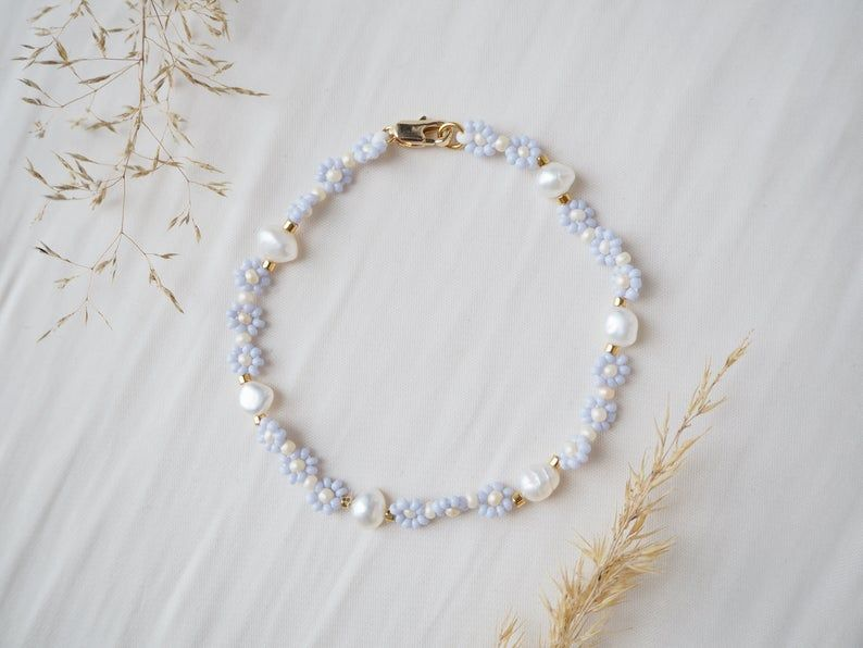 Photo of PETALS&PEARLS Flower Bracelet | Endless Spring Collection | Freshwater Pearl Bracelet | Blumenarmband | Perlenarmband