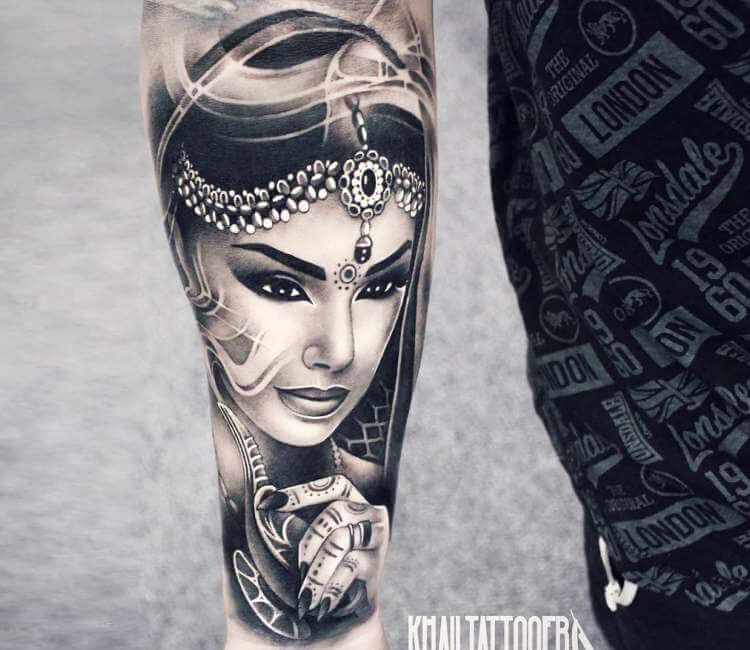 Genie And Her Lamp Tattoo By Khail Tattooer Post 21683 Lamp Tattoo Sleeve Tattoos Egyptian Tattoo Sleeve