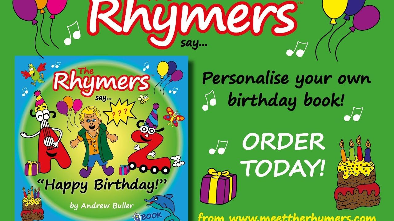 personalised birthday book the rhymers say andrew happy birthday