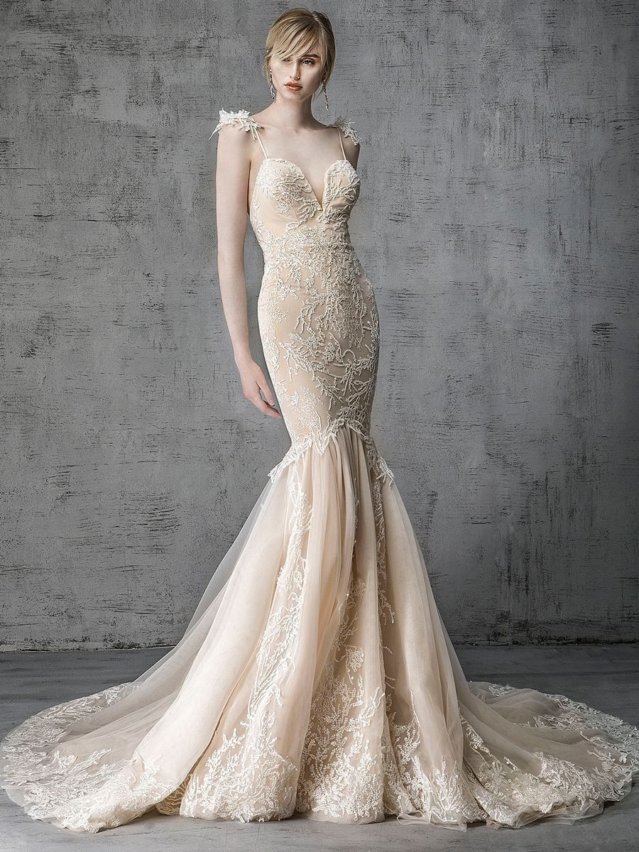 200d32794740a Victoria Kyriakides Spring 2019 Collection mocha mermaid wedding dress with  crystal embroidered coral motif