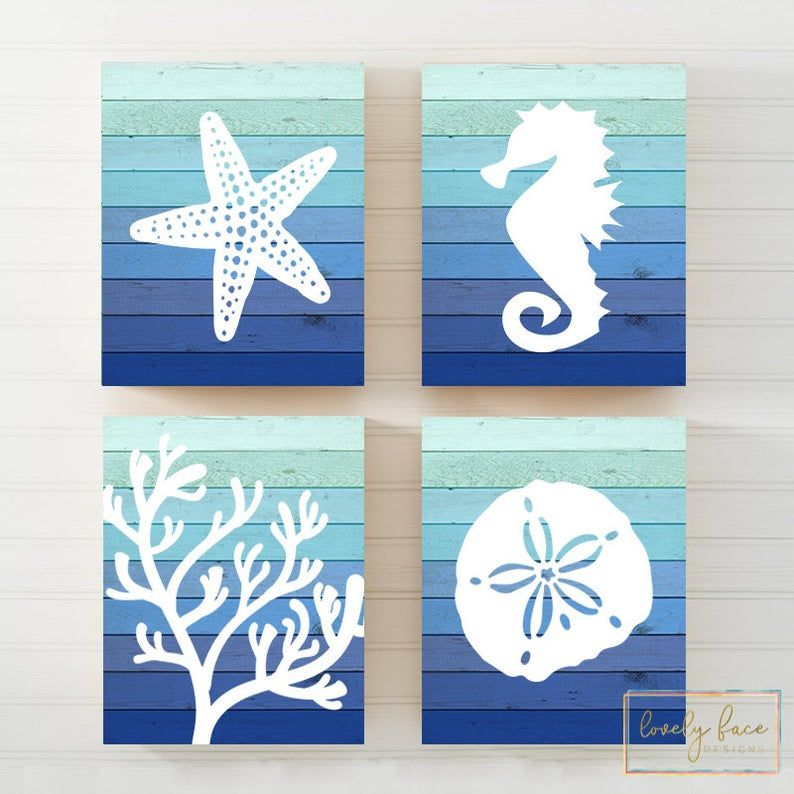Photo of Beach Bathroom Wall Art Ombre Beach Prints or Canvas Nautical   Etsy