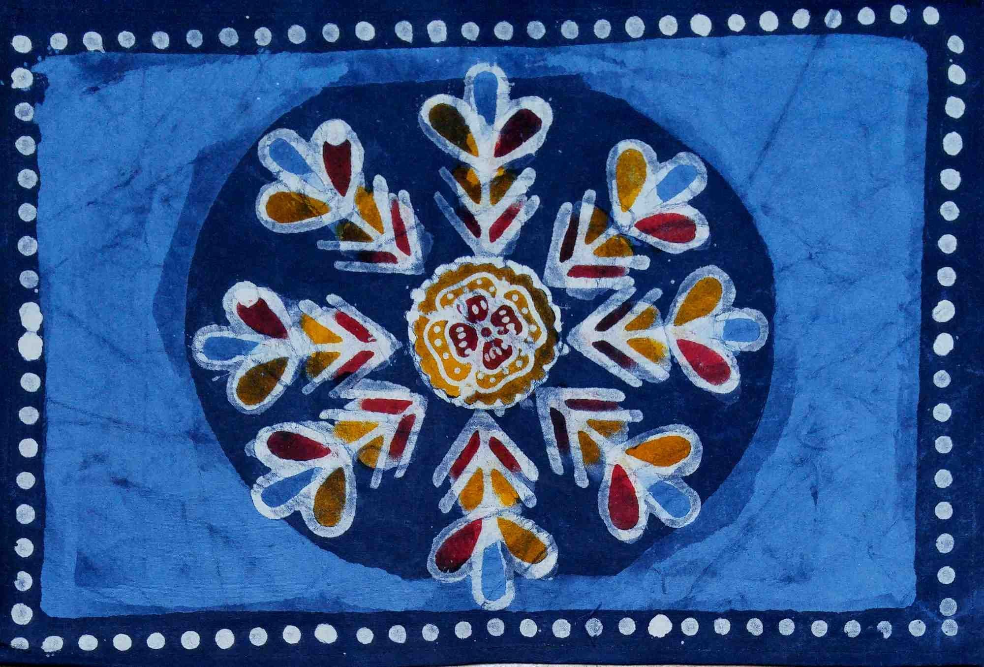 Handmade table mats design - Handmade 100 Cotton Placemat Table Mat Multi Batik Floral Design Blue Astonishing 13x19 Inches