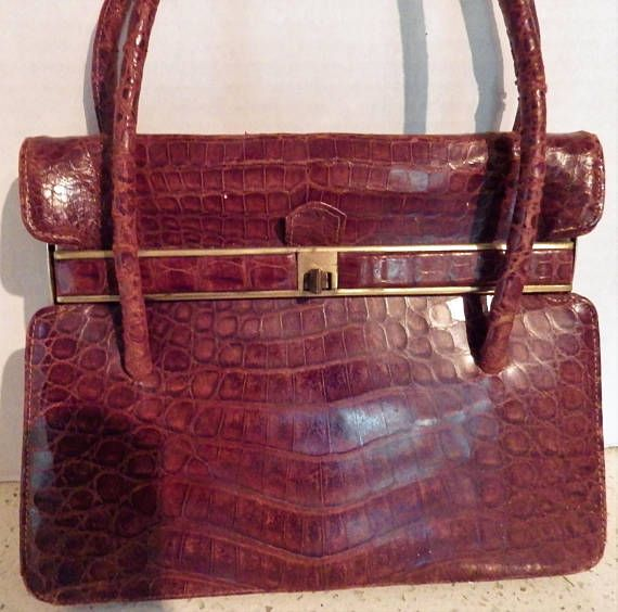 1950s Genuine Caiman Alligator Brown Handbag Industria Caimanbrown Handbagsvintage Clothingdark