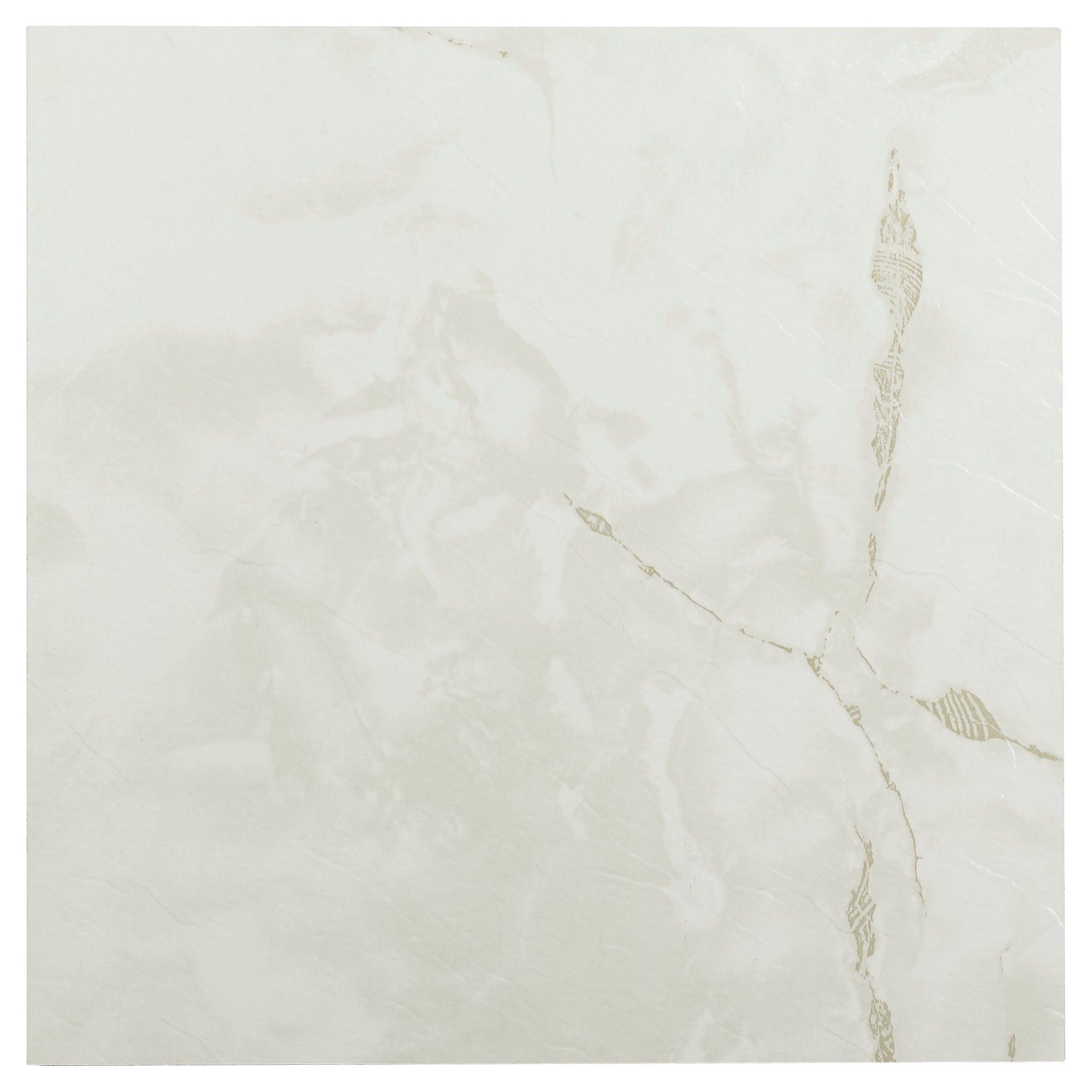 White Self Adhesive Vein Vinyl Floor Tile 12x12 Achim