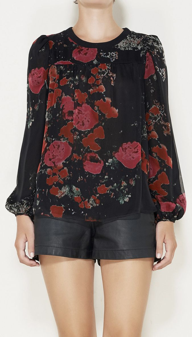 Giambattista Valli Black, Red, And Multicolored Top
