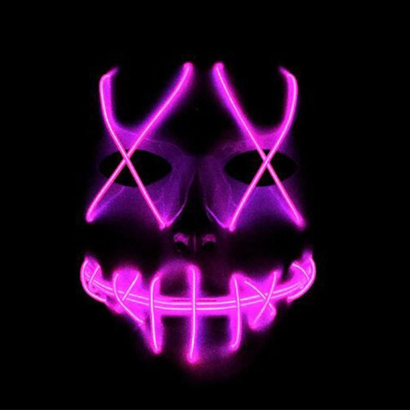 Halloween Scary Mask Cosplay Led Costume Mask Light Up The Purge Movie - Pink