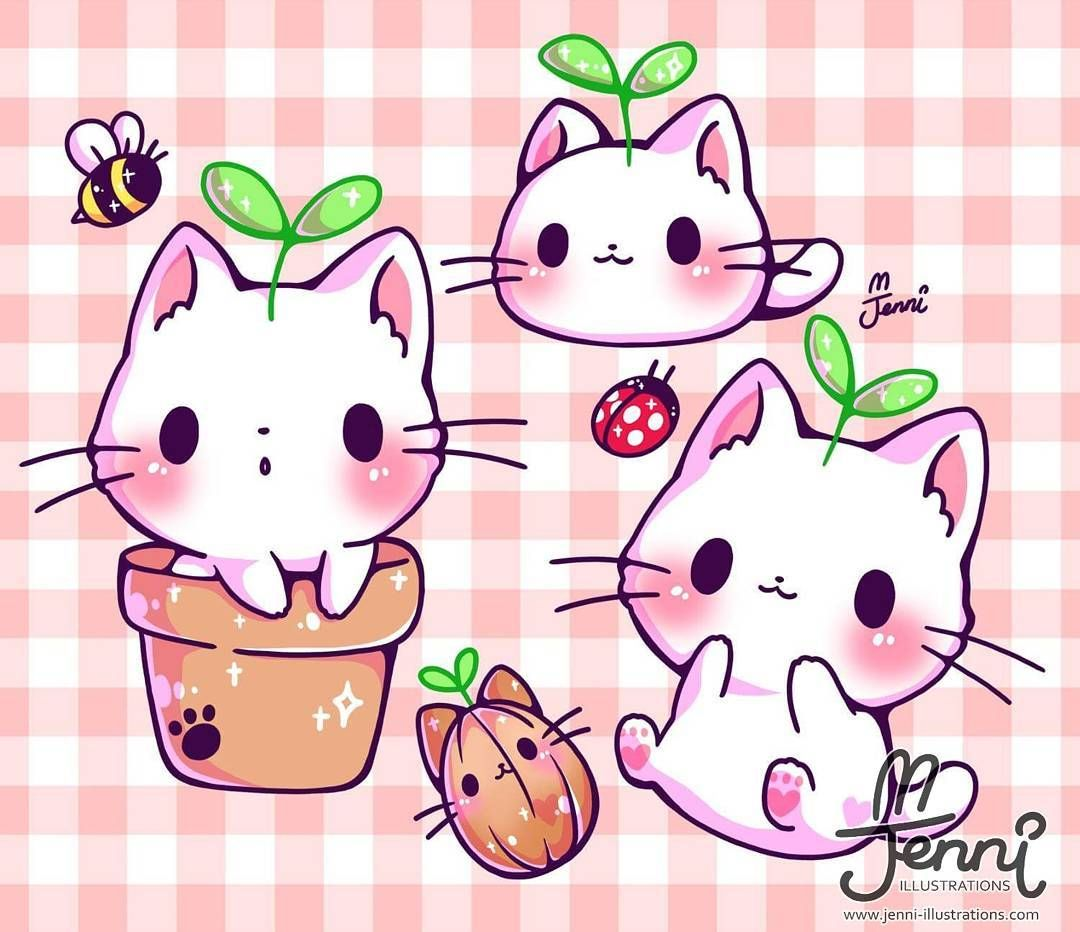 Is This How Kitty Plants Grow Kittyplant Plantpots Kitty Cat Chibi Jennii Cute Animal Drawings Kawaii Cute Kawaii Drawings Cute Cat Drawing