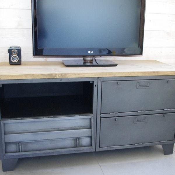 meuble tv industriel vestiaire clapet  meuble meuble tv